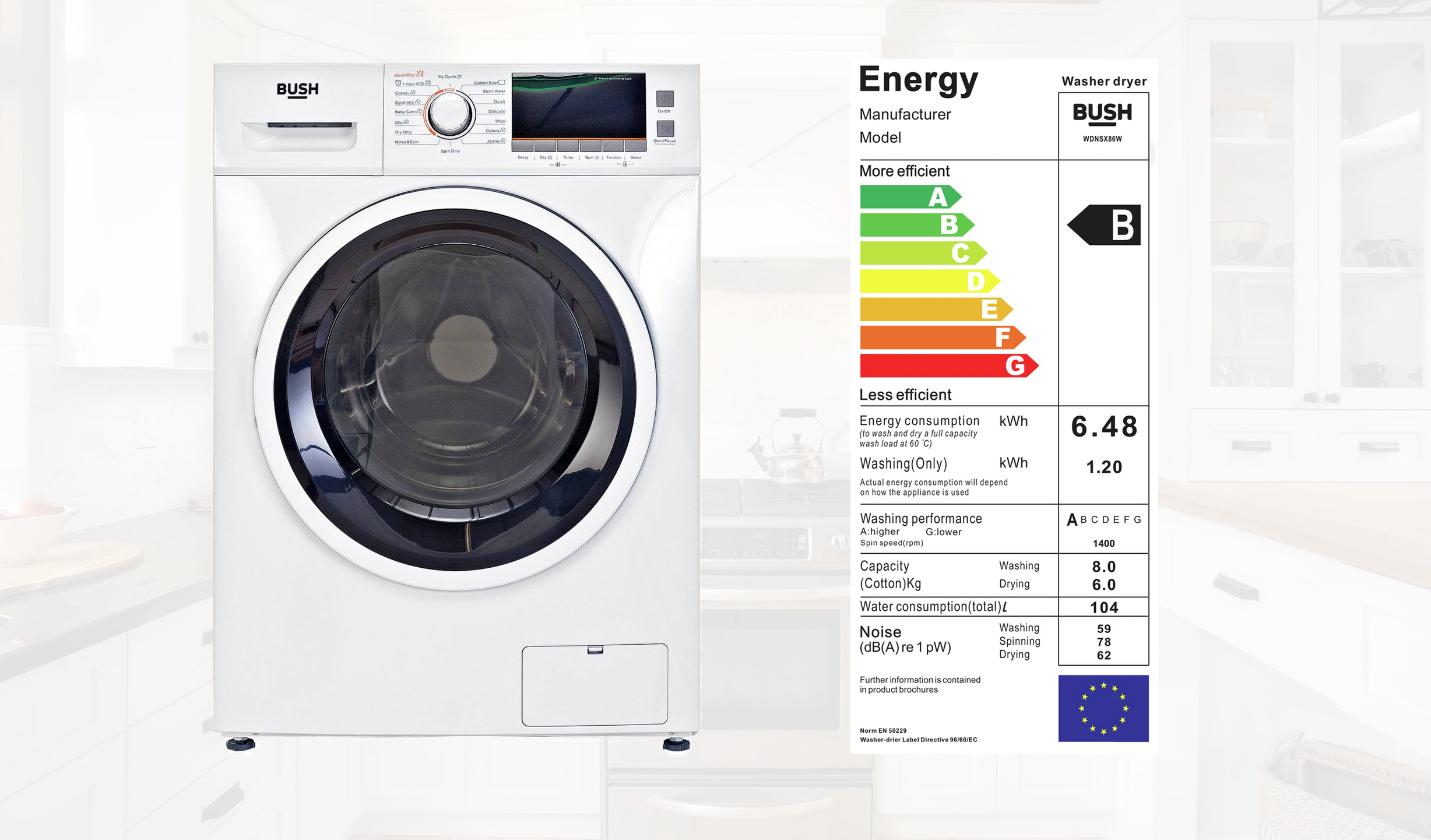 Bush Wdnsx86w 8kg Washer Dryer Review Best Price